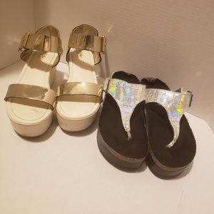 Silver and gold sandals